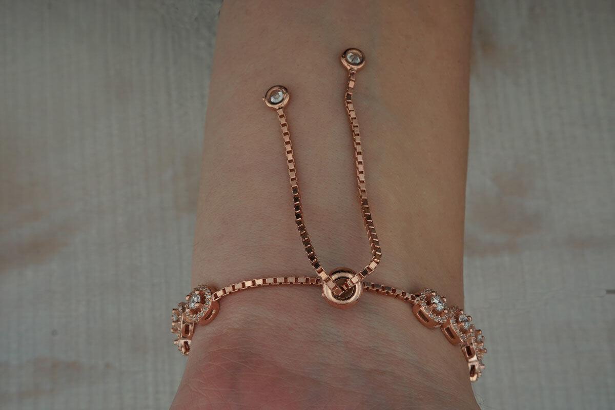 Γυναικείο Βραχιόλι Ασημένιο 925 Ροζ Χρυσό Ζιργκόν Χεριού
