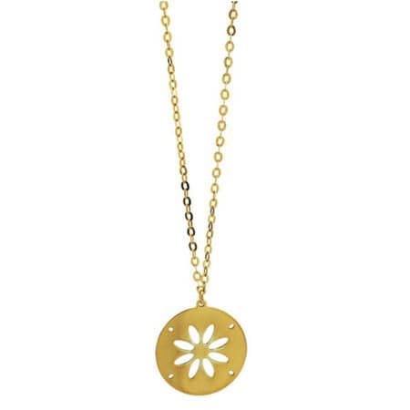 Γυναικείο Χρυσό 9Κ Κρεμαστό Κολιέ Κόσμημα Λουλούδι Αλυσίδα