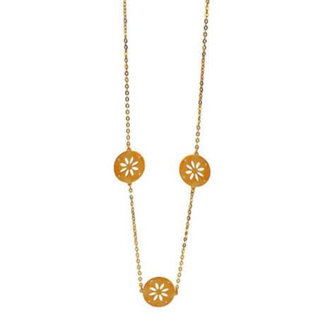 Γυναικείο Χρυσό Κόσμημα Κολιέ 9Κ Λουλούδι Αλυσίδα