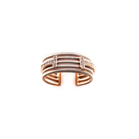 Γυναικείο Ροζ Χρυσό Δαχτυλίδι Λευκές Ζιργκόν Πέτρες 925 Ασημένιο