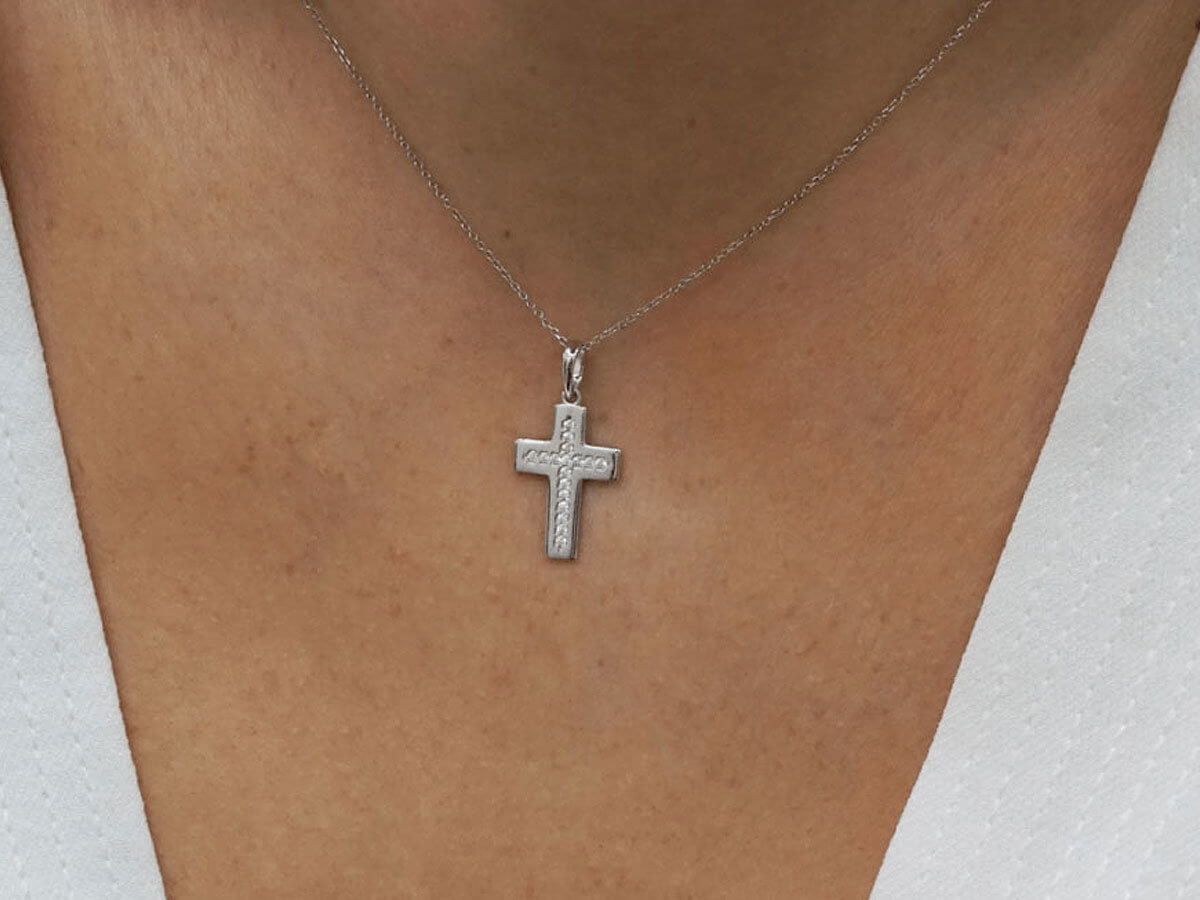 Λευκόχρυσος Γυναικείος Σταυρός 14Κ Ζιργκόν Πέτρες Κόσμημα Βάπτιση Κορίτσι