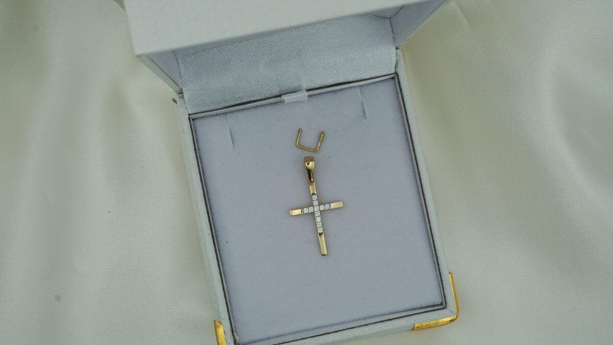 Σταυρός 14Κ Χρυσός ζιργκόν Πέτρες Γυναικείος Κορίτσι Βάπτιση Κόσμημα