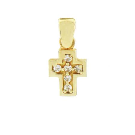 Γυναικείος χρυσός σταυρός 14Κ με λευκές ζιγκόν πέτρες