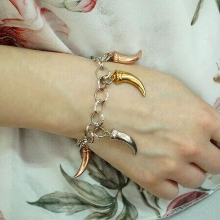 Γυναικείο Ασημένιο Βραχιόλι 925 Τρίχρωμα Στοιχεία Κορίτσι Δώρο Κόσμημα