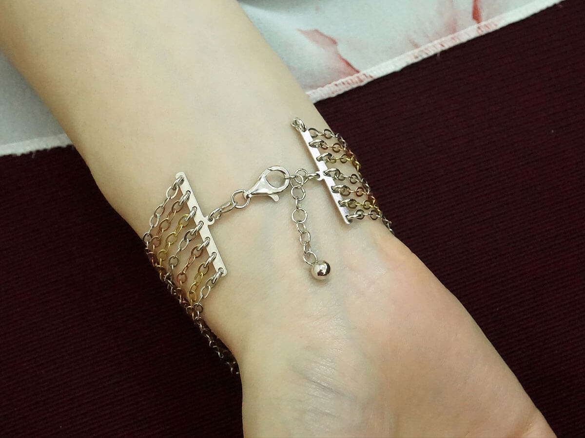 Γυναικείο Βραχιόλι Κόσμημα Ασήμι 925 Πολύχρωμες Αλυσίδες Κούμπωμα