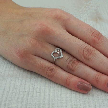 Καρδιά Άπειρο Γυναικείο Δαχτυλίδι 925