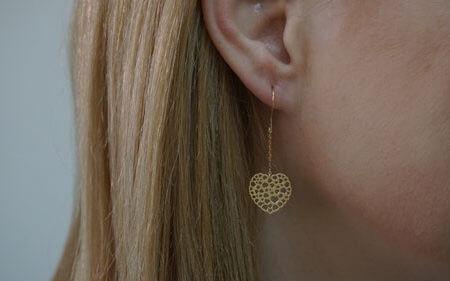 Κίτρινο Κρεμαστά 9Κ Χρυσά Σκουλαρίκια