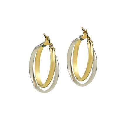 Χρυσοί Κρίκοι 14Κ Λευκόχρυσοι Κίτρινο Χρυσό Γυναικεία Σκουλαρίκια