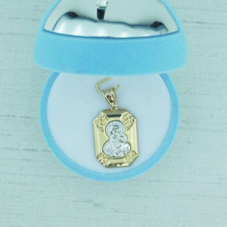 9Κ Γυναικείο Κίτρινο Χρυσό Μενταγιόν Φυλαχτό Παναγίτσα Γέννηση Αγόρι Κορίτσι