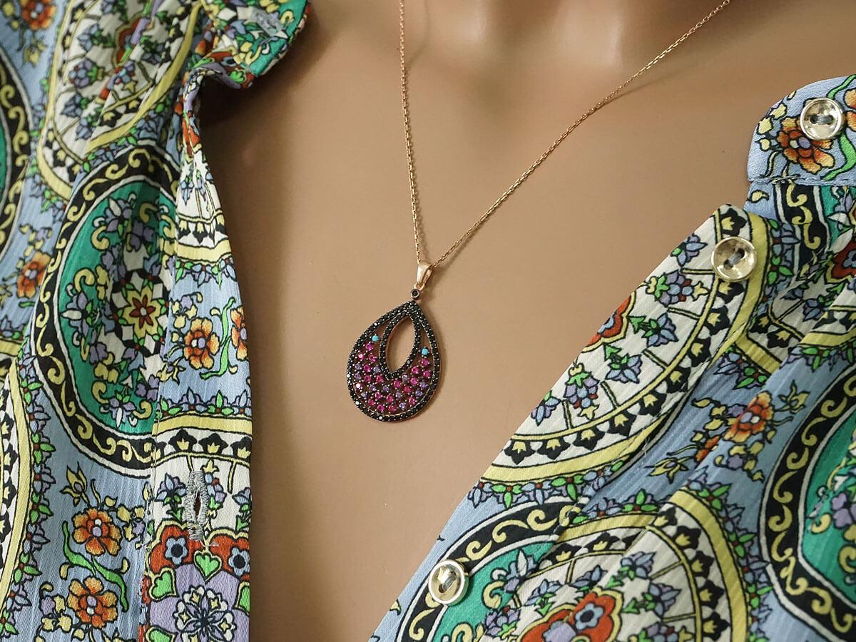 Κολιέ με Χρωματιστές Πέτρες Ζιργκόν Ροζ Επιχρυσωμένο Ασήμι 925