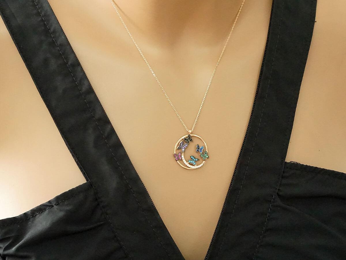 Κολι΄πε Πεταλούδες Επίχρυσο Ροζ Γυναίκα Κορίτσι Δώρο