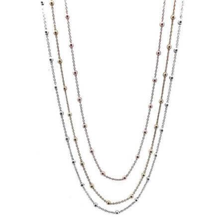 Κολιέ με Τριπλή Αλυσίδα Ασημένια 925 Ροζ Επίχρυσο Γυναικείο