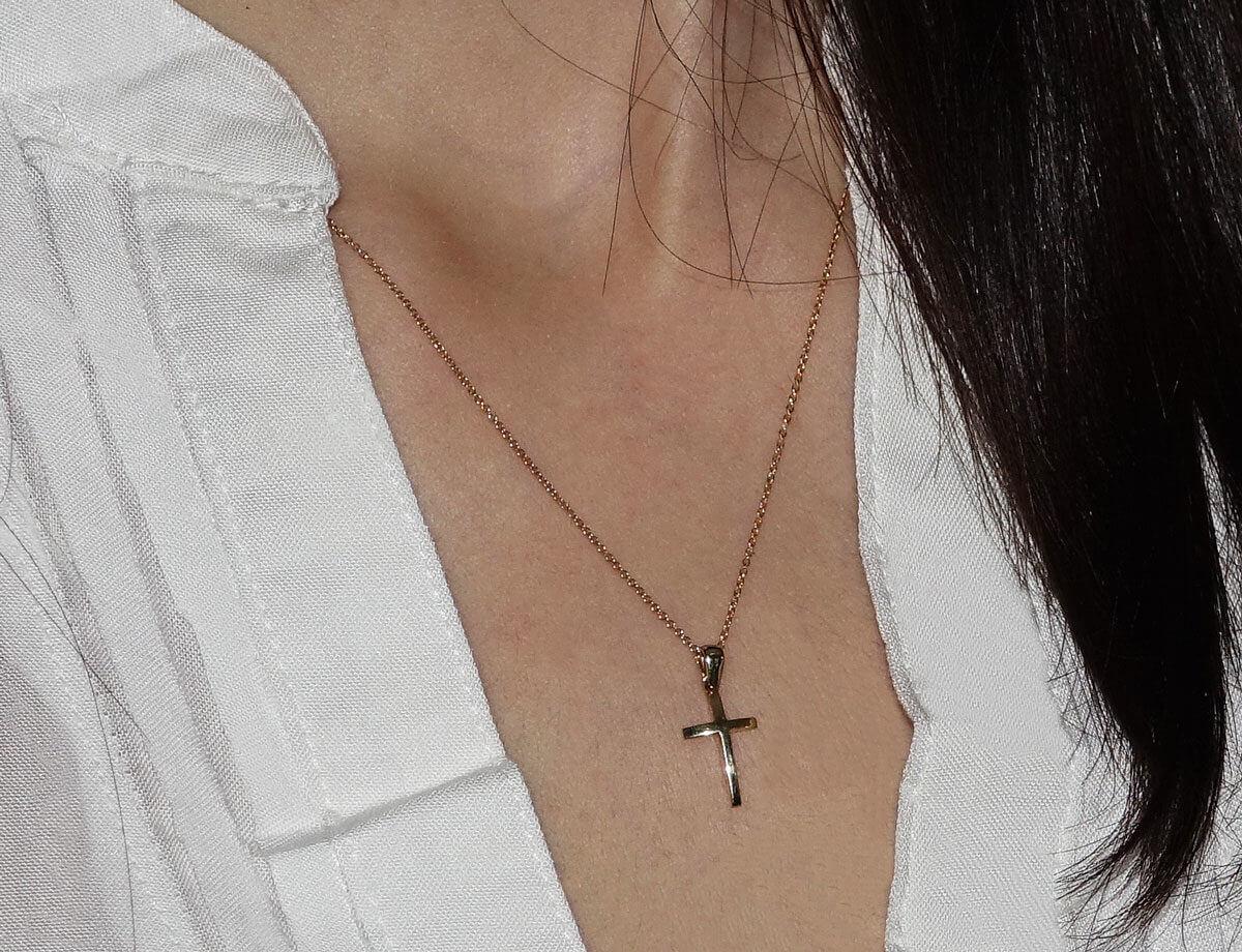 14Κ Γυναικείος Χρυσός Σταυρός Αλυσίδα Κορίτσι