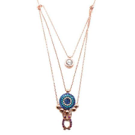 Κολιέ Κουκουβάγια Ματάκι Στόχος Πέτρες Ζιργκόν Ροζ Επίχρυσο Γυναικείο Μενταγιόν Λαιμού Ασημένιο 925