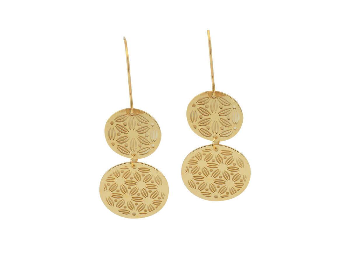 Κρεμαστά Χρυσά Σκουλαρίκια Διπλούς Ανάγλυφους Κύκλους 9Κ