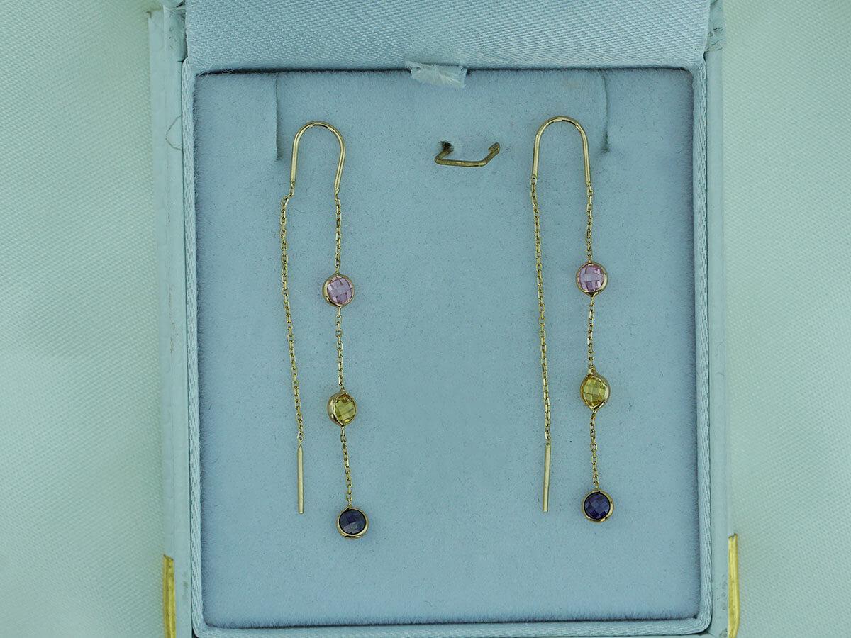 Κρεμαστά Χρυσά Σκουλαρίκια Χρωματιστές Πέτρες