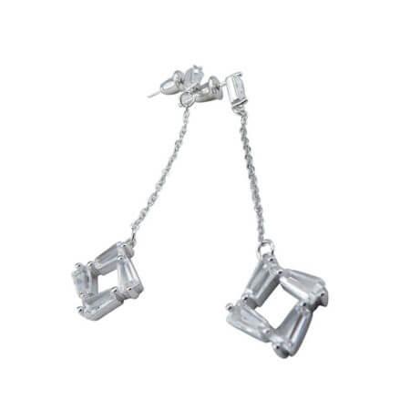 Κρεμαστά Ζιργκόν Λευκές Πέτρες 925 Ασημένια Γυναικεία Σκουλαρίκια Ασημί