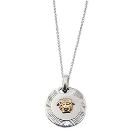 Ατσαλένιο Κρεμαστό 14Κ Χρυσό Versace Μαίανδρος Ανοξείδωτο Ατσάλι Αλυσίδα Ασημί Ανδρικό Γυναικείο