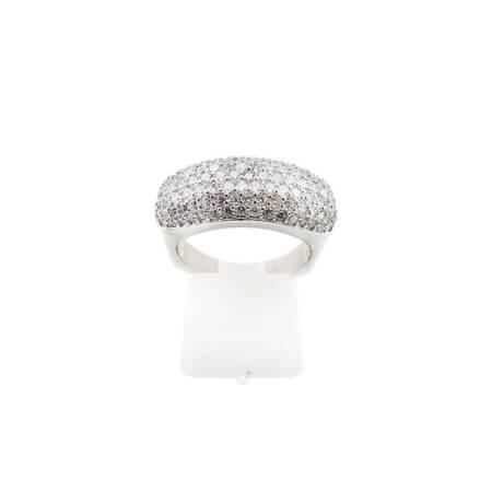 Ασημένιο Δαχτυλίδι με Ζιργκόν 925 Λευκές Πέτρες Ασημί Γυναικείο
