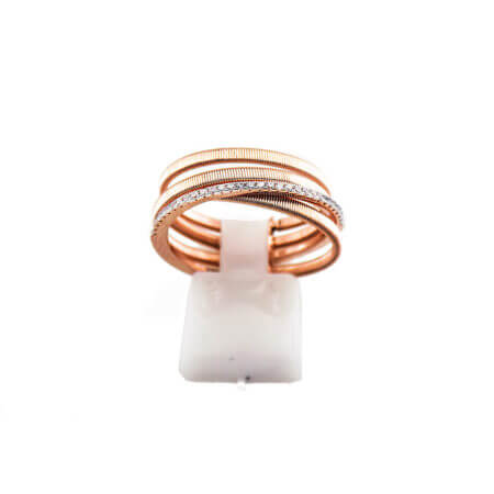 Γυναικείο Ροζ Χρυσό Δαχτυλίδι 925 Ασημένιο Λευκές Ζιργκόν Πέτρες