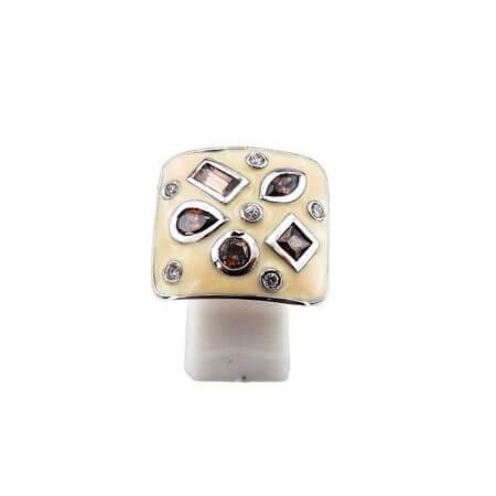 Γυναικείο Δαχτυλίδι Τετράγωνο Ασημένιο 925 Λευκές Καφέ Ζιργκόν Πέτρες Σμάλτο