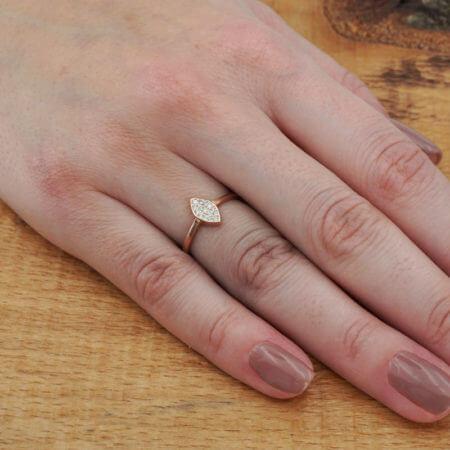 Λευκές Ζιργκόν Πέτρες Ροζ Χρυσό Ασημένιο Γυναικείο Δαχτυλίδι 925