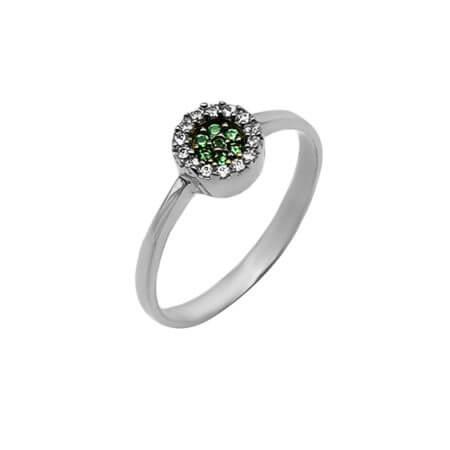 Λευκόχρυσο 14Κ Γυναικείο Δαχτυλίδι Ροζέτα Πράσινη Λευκές Πέτρες Επέτειος