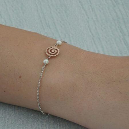 Λευκόχρυσο Βραχιόλι Γυναικείο Ροζ Χρυσό Μαργαριτάρι 14Κ Αλυσίδα