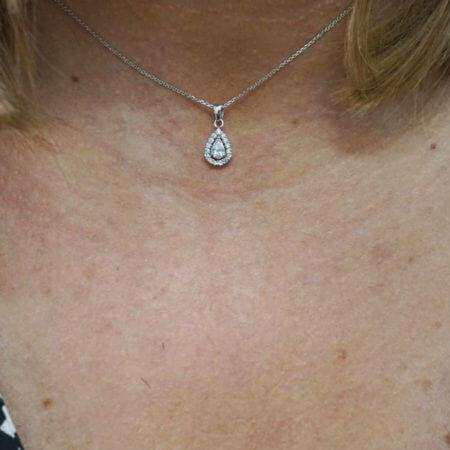 Μενταγιόν Γυναικείο Λευκόχρυσο Δάκρυ 14Κ Ζιργκόν Πέτρες