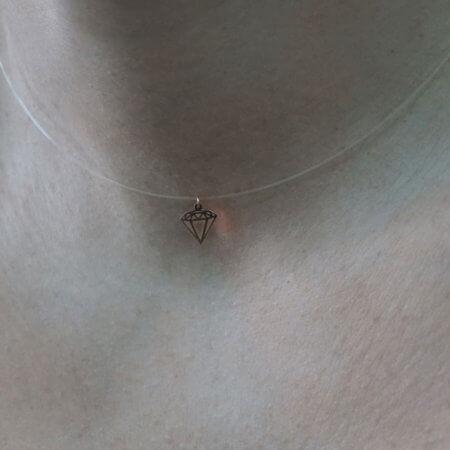 Λευκόχρυσο Γυναικείο Μενταγιόν 14Κ Διαμάντι Ντίζα Ροζ Χρυσό