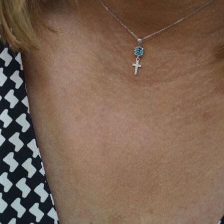 Λευκόχρυσο Γυναικείο Μενταγιόν 9Κ Σταυρός Ματάκι Ζιργκόν Πέτρες