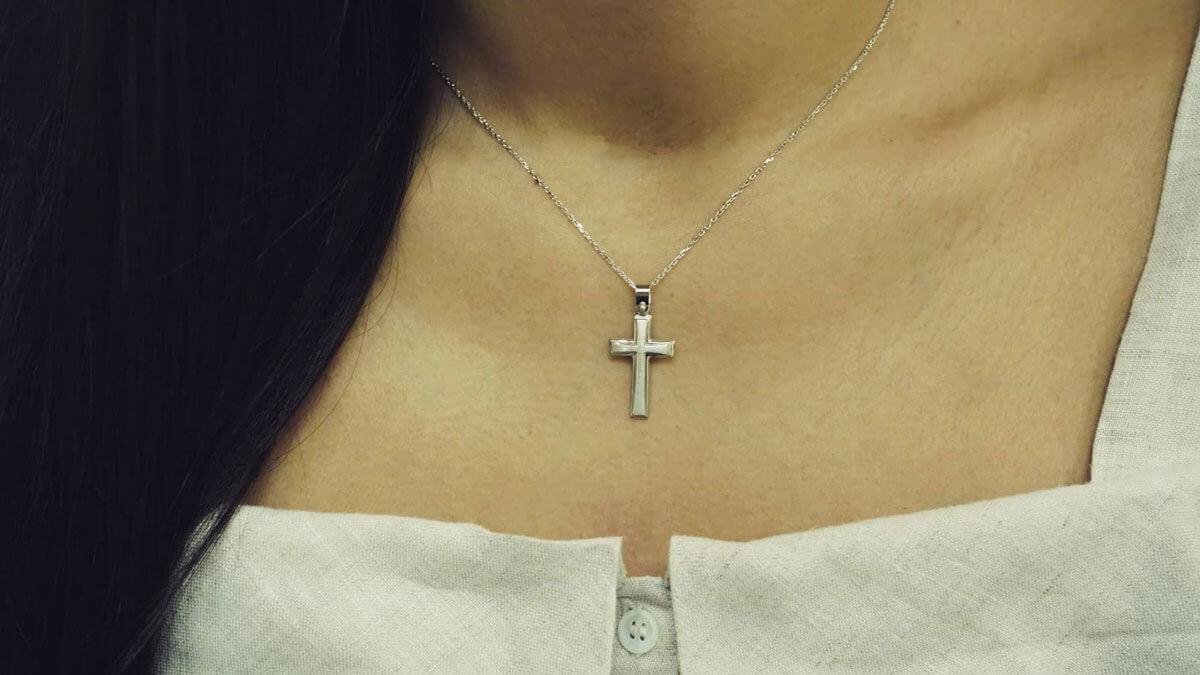 14Κ Λευκόχρυσος Σταυρός Αλυσίδα Γυναικείος Ανδρικός Κορίτσι Αγόρι