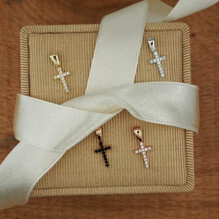 Λευκόχρυσος Σταυρός 14Κ Ζιργκόν Πέτρες Γυναικείος Κορίτσι
