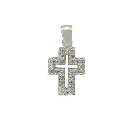 Λευκόχρυσος Γυναικείος Σταυρός Κορίτσι 14Κ Ζιργκόν Πέτρες
