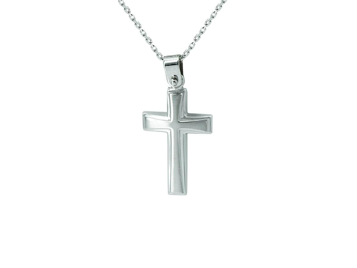 Λευκόχρυσος Σταυρός Βάπτισης Αλυσίδα 14Κ
