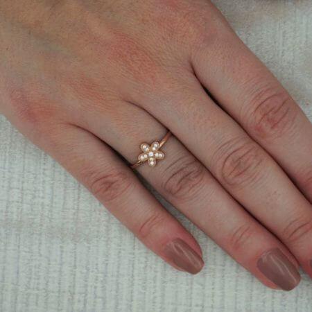Λουλούδι Ροζ Χρυσό Δαχτυλίδι 925