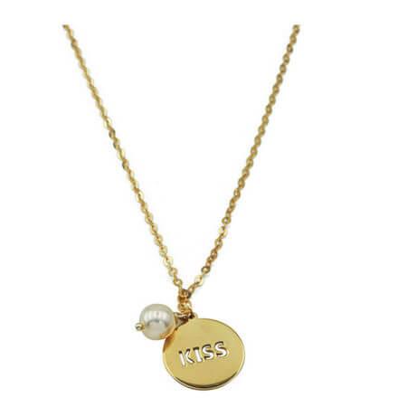 Χρυσό Γυναικείο Κρεμαστό ΛαιμούKiss 9Κ Κολιέ Λευκό Μαργαριτάρι