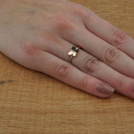 Μαύρες Ζιργκόν Πέτρες Ροζ Χρυσό 925