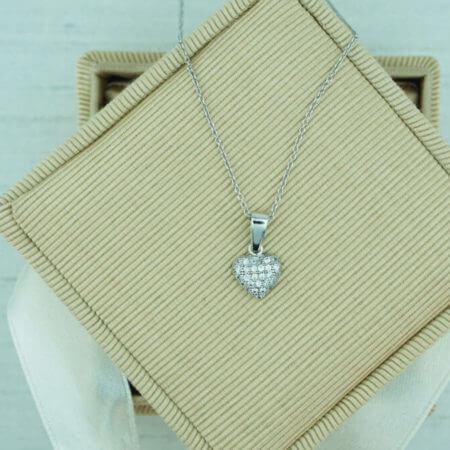 Λευκόχρυσο 14Κ Γυναικείο Μενταγιόν Καρδιά Λευκές Ζιργκόν Πέτρες