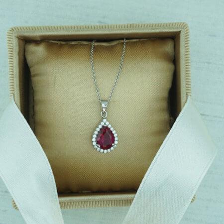 9Κ Λευκόχρυσο Γυναικείο Μενταγιόν Drop Κόκκινη Λευκές Πέτρες Ζιργκόν