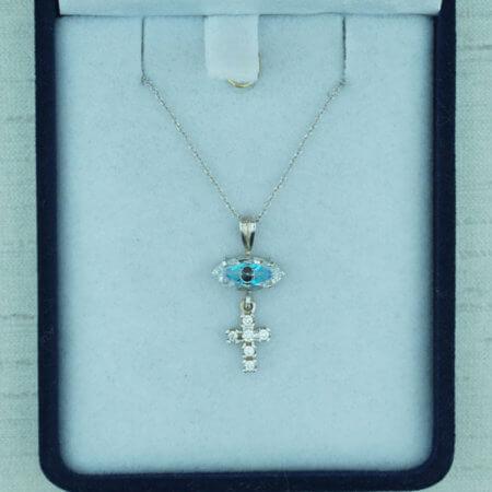 Λευκόχρυσο Μενταγιόν Γυναικείο Πέτρες Ζιργκόν Ματάκι Σταυρός 9Κ