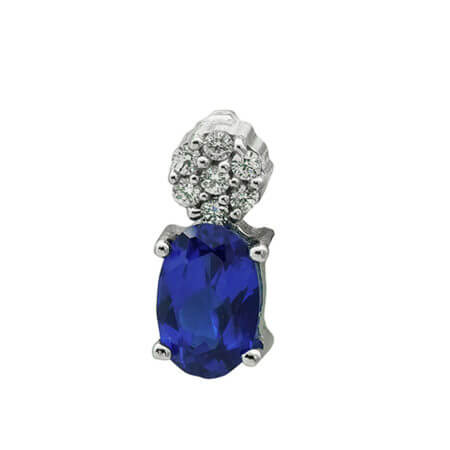 Μενταγιόν Λευκόχρυσο 14Κ Μπλε Λευκές Ζιργκόν Πέτρες