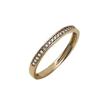 Μισόβερο Γυναικείο Δαχτυλιδι 14Κ Ζιργκόν Πέτρες Σειρέ Ρόζ Χρυσό