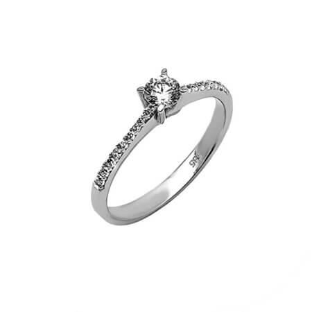 Μονόπετρο Δαχτυλίδι Με Ζιργκόν Πέτρες 14Κ Γυναικείο Κόσμημα Λευκόχρυσο