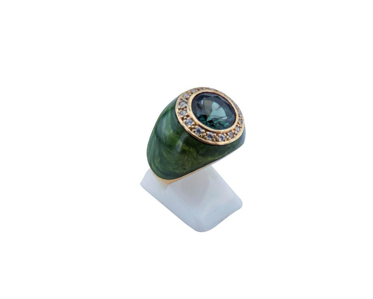 Πράσινη Καμπουσόν Πέτρα Ζιργκόν Ασημένιο Δαχτυλίδι Επιχρυσωμένο Ασήμι Γυναικείο 925