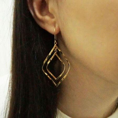 Σκουλαρίκια Χρυσά Κρεμαστά Ρόμβοι 14Κ Γυναικεία