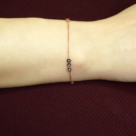 Ροζ Επίχρυσο Ασήμι 925 Βραχιόλι Ζιργκόν Γυναίκα Κόσμημα Δώρο