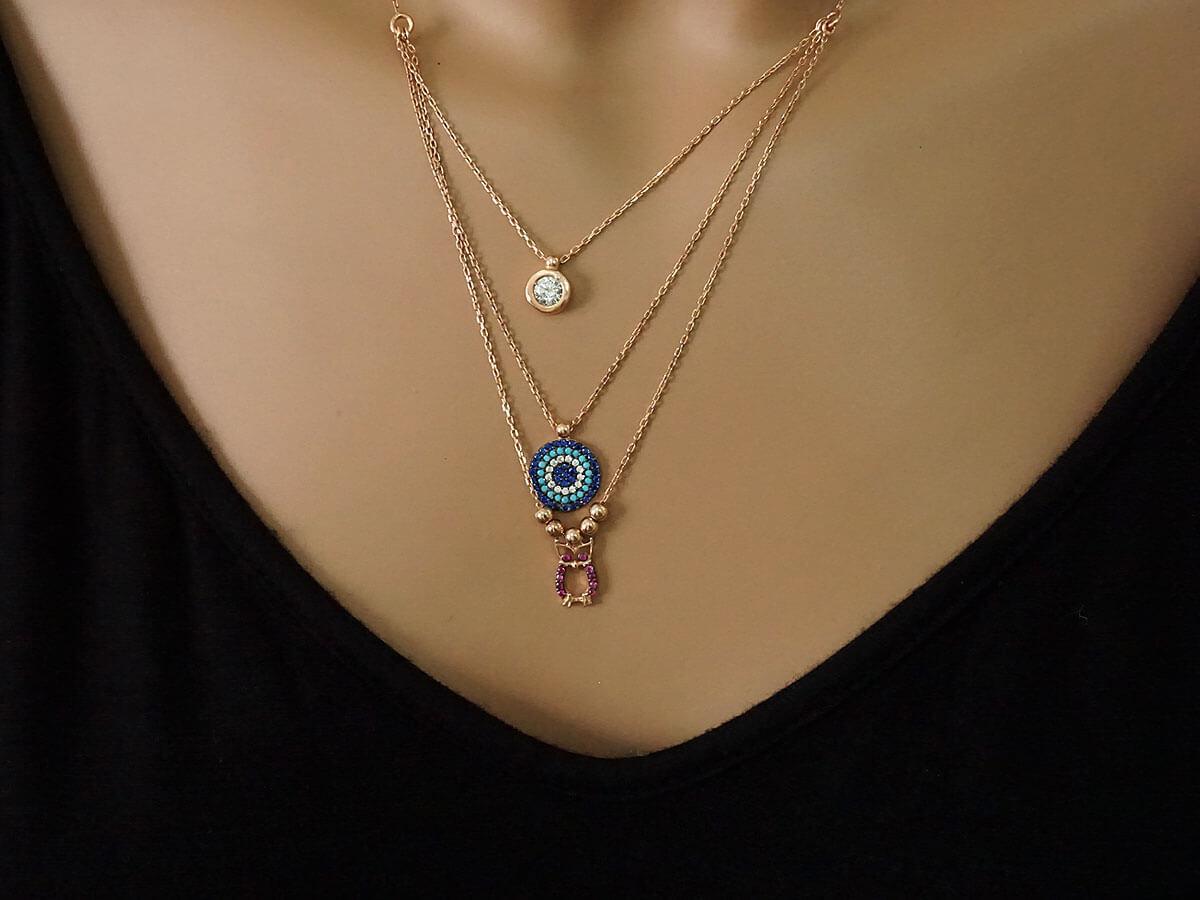 Ροζ Επίχρυσο Κολιέ Κουκουβάγια Στόχος Πέτρες Τριπλή Αλυσίδα Ασήμι 925