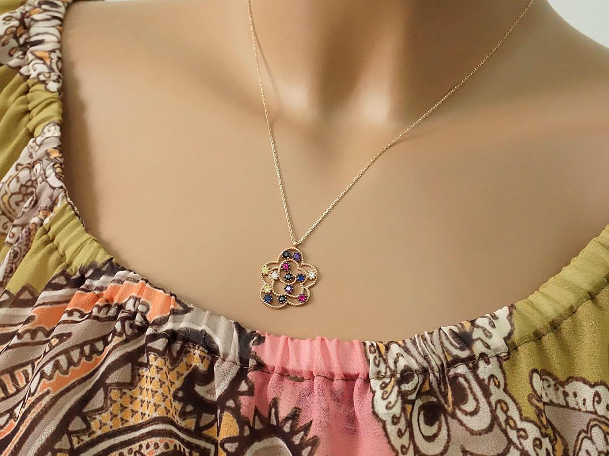 Ροζ Επίχρυσο Μενταγιόν Λουλούδι Πολύχρωμες Πέτρες Ασήμι 925