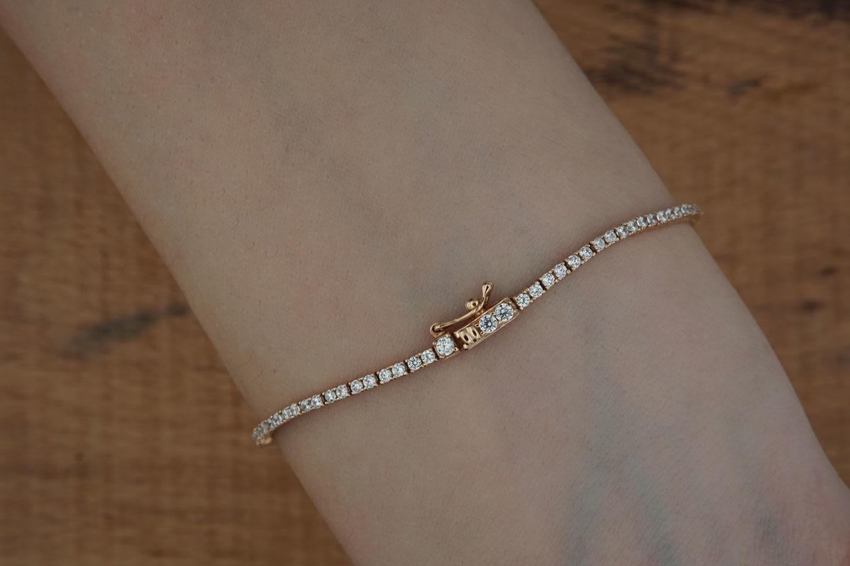 Ροζ Χρυσό 14Κ Ζιργκόν Πέτρες Γάμος Αρραβώνας Γυναικείο Βραχιόλι Ριβιέρα